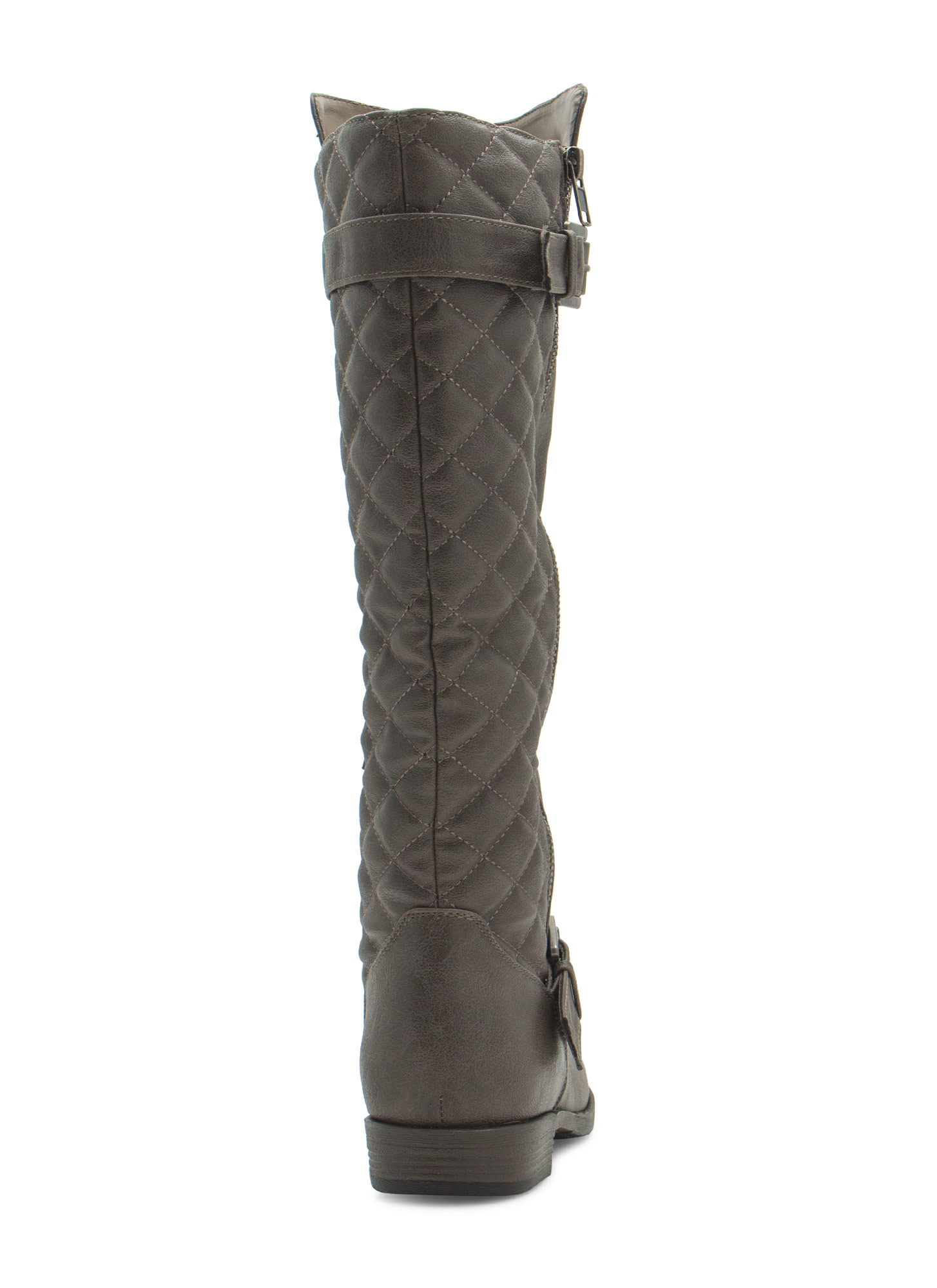 Quilted Inset Buckled Boots TAUPE