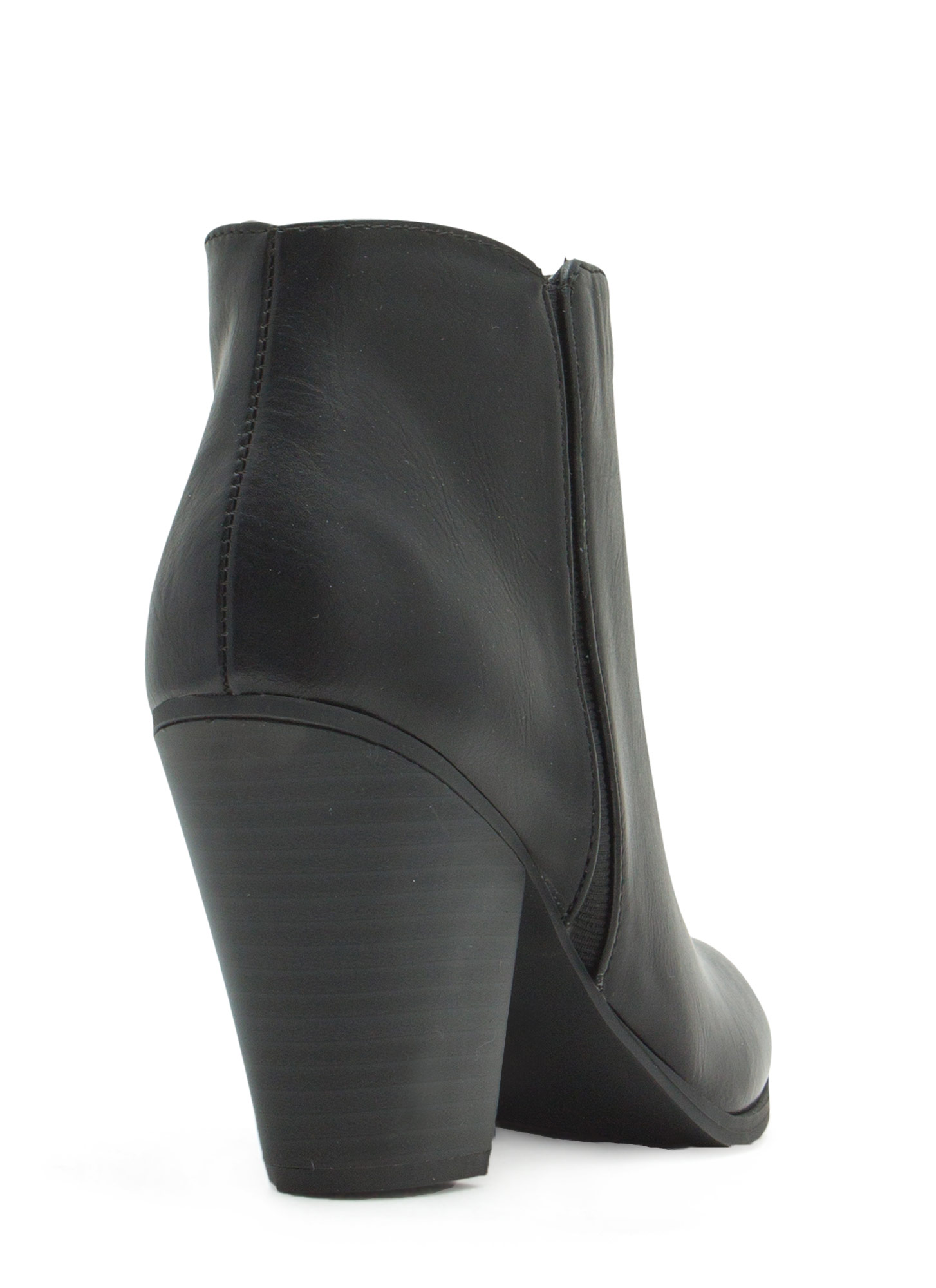 Sleek Sista Faux Leather Booties BLACK