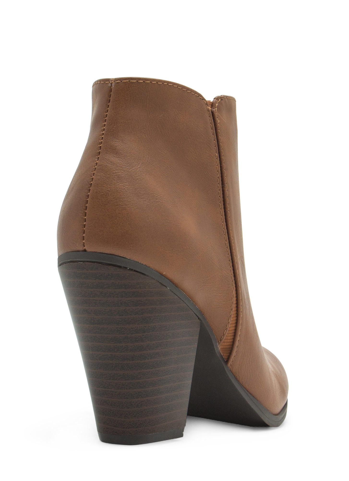 Sleek Sista Faux Leather Booties TAN