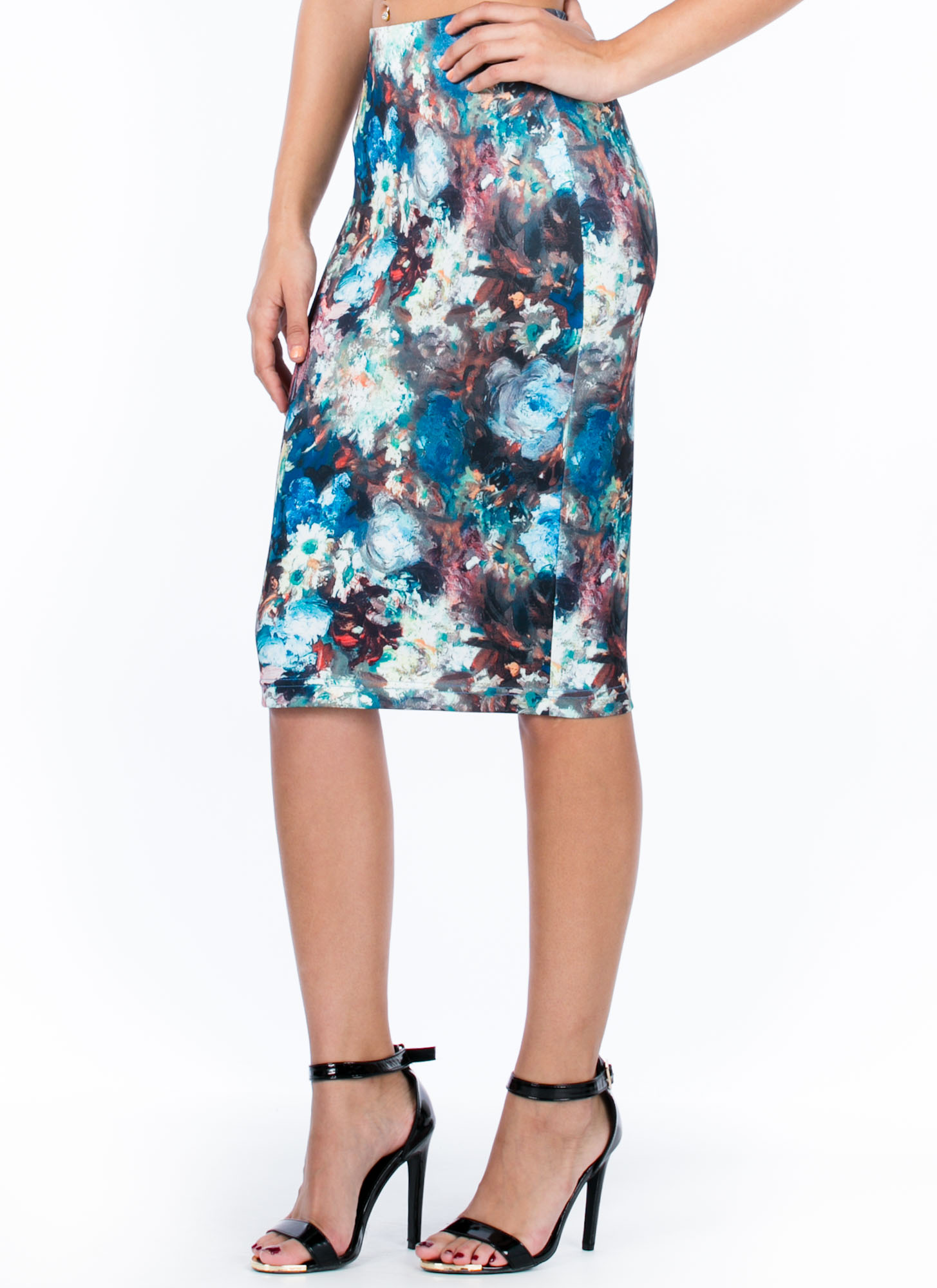 Masterpiece Floral Pencil Skirt BLUE
