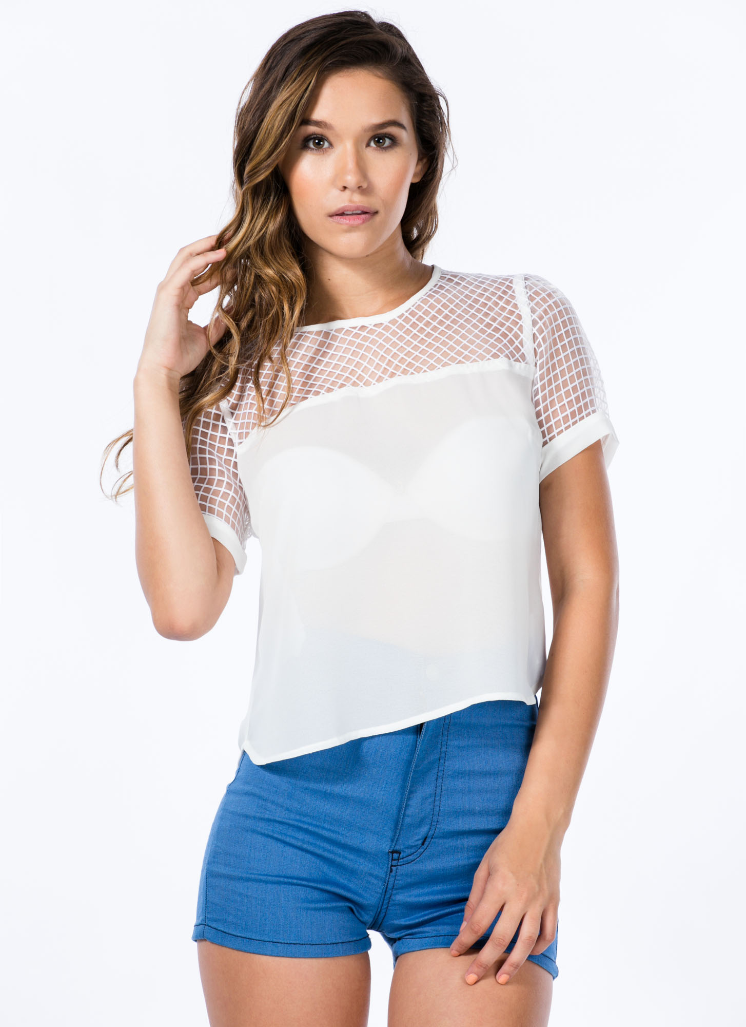 Net Worth Grid Organza Contrast Top OFFWHITE