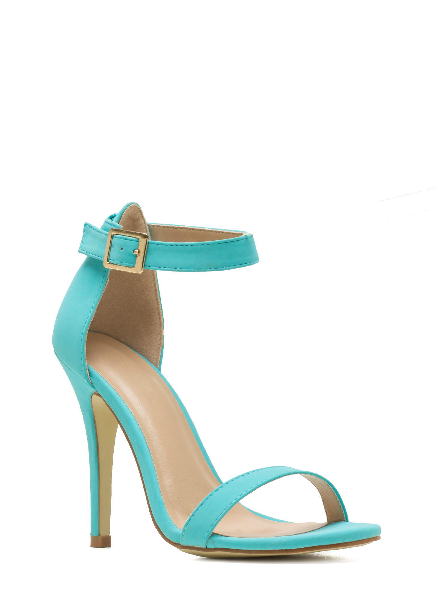 Less Is More Single-Strap Heels AQUA