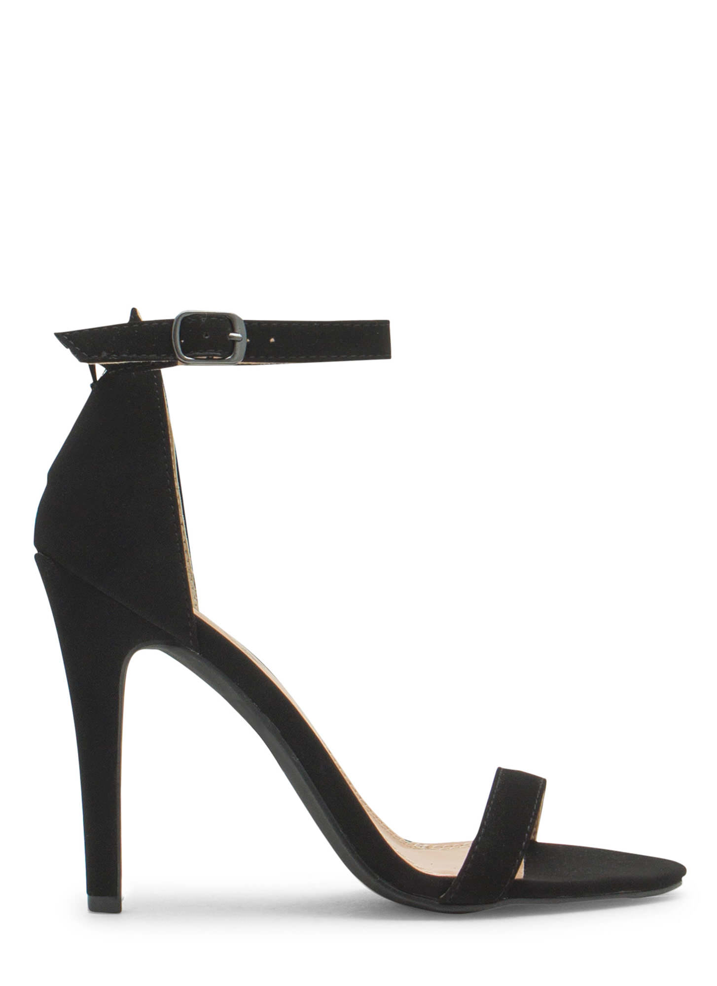 Less Is More Single-Strap Heels BLACK