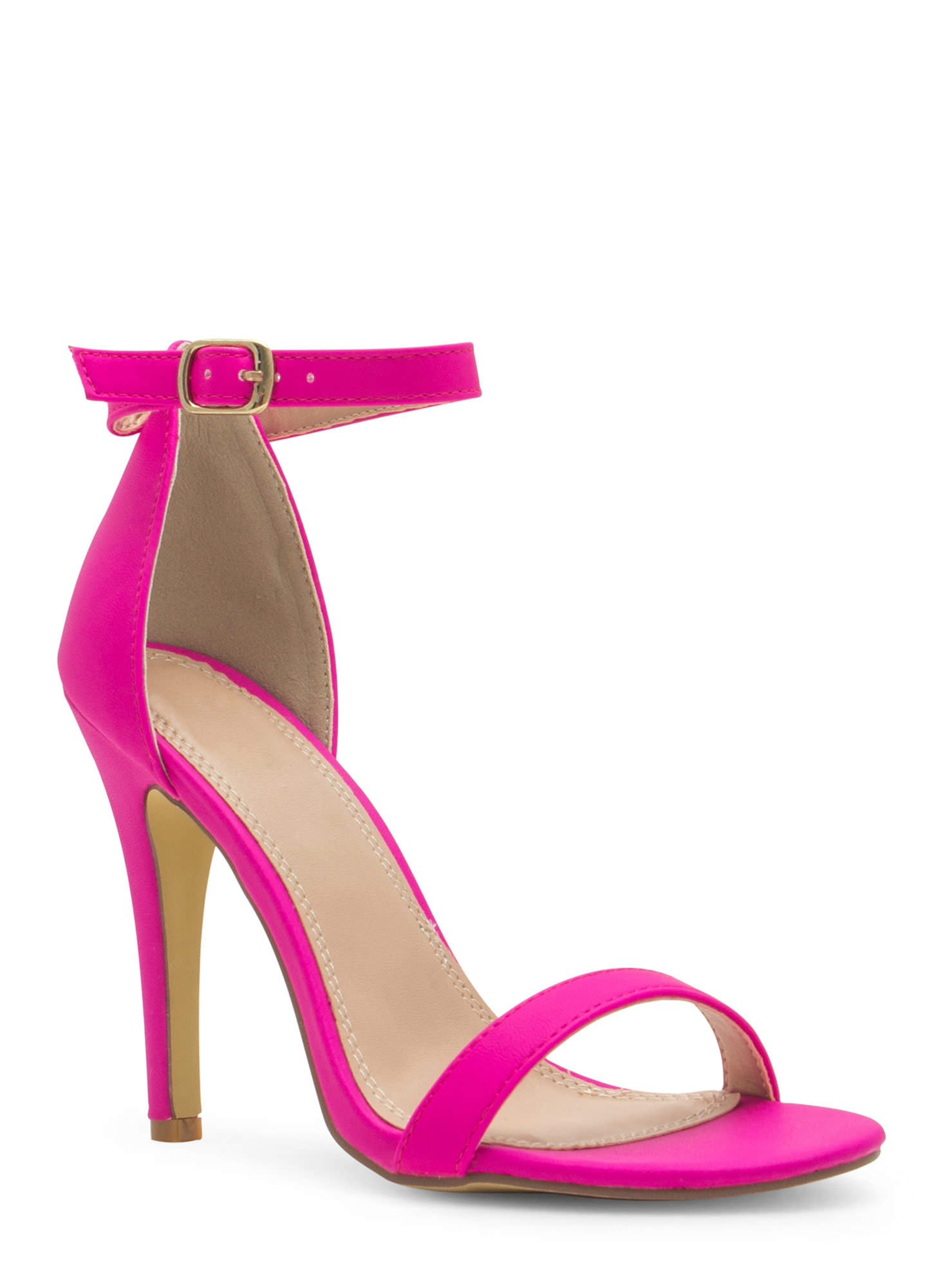 Less Is More Single-Strap Heels HOTPINK