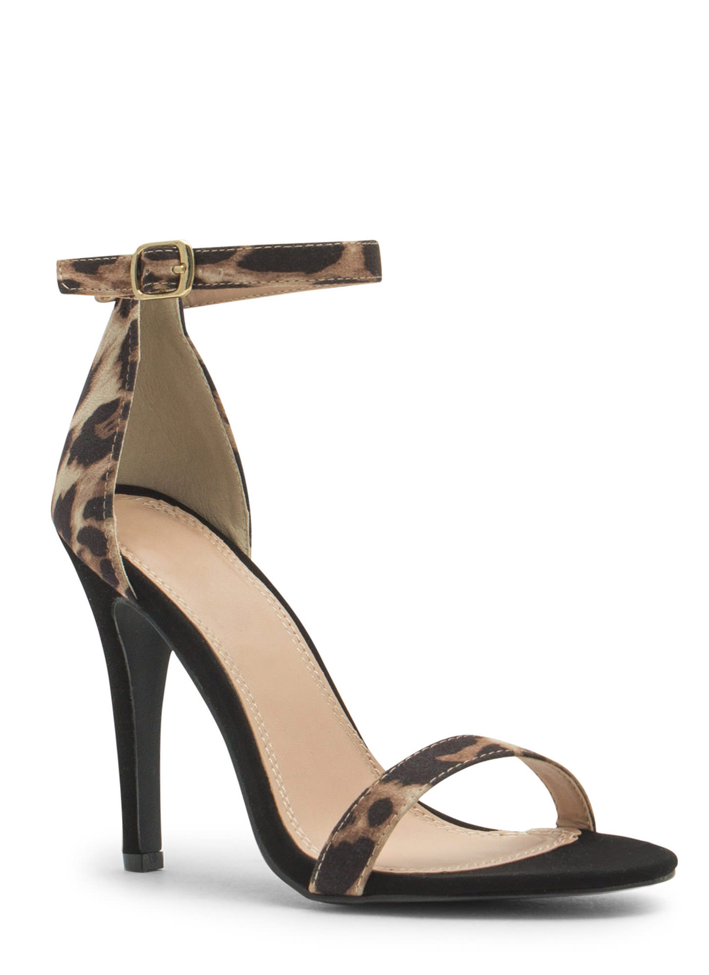 Less Is More Single-Strap Heels LEOPARD