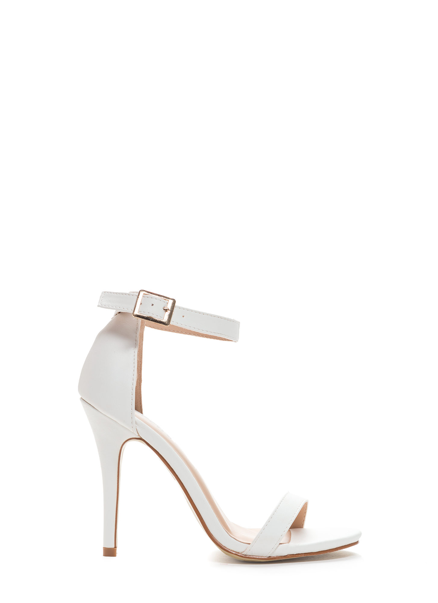 Less Is More Single-Strap Heels WHITE