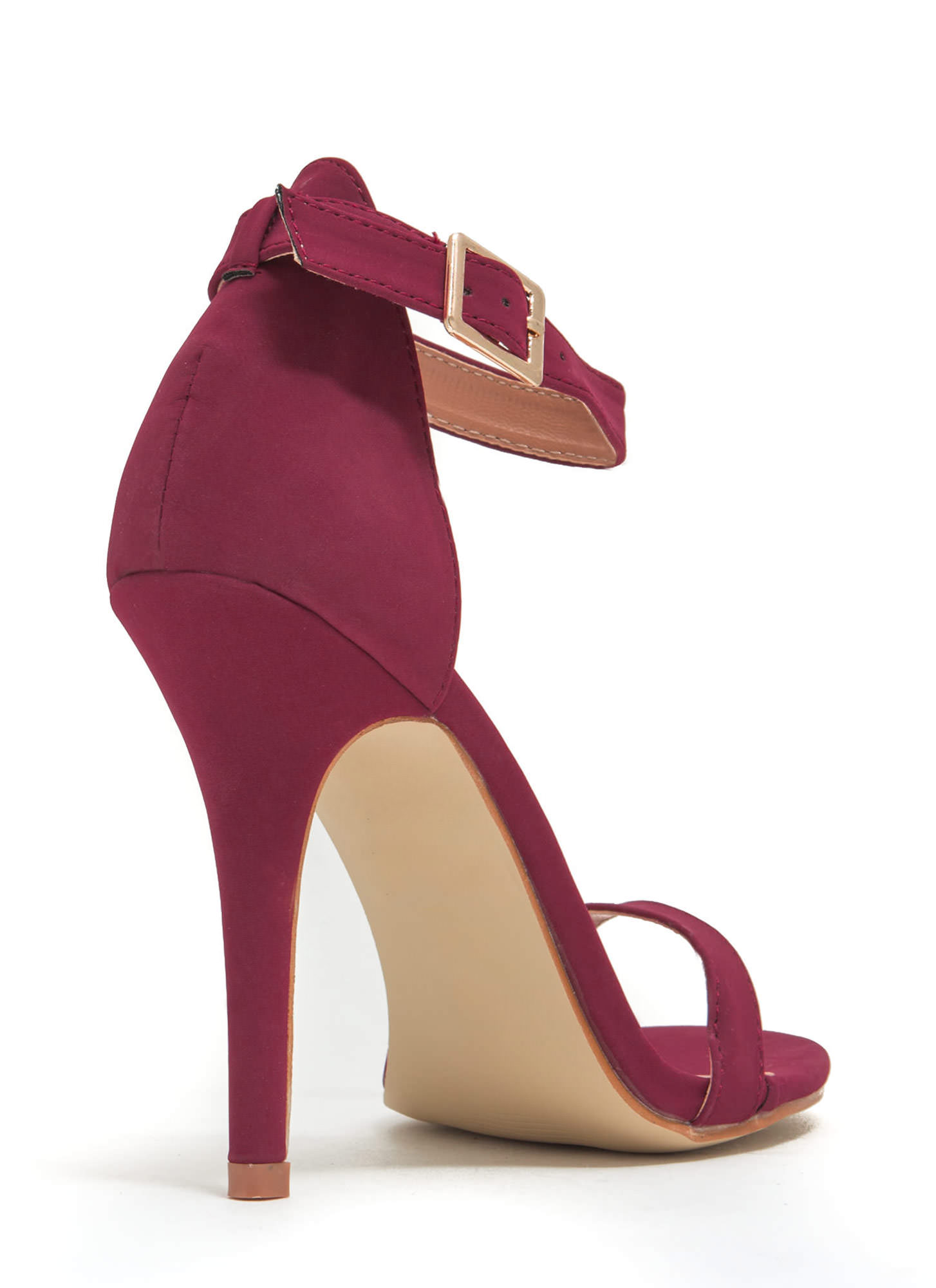 Less Is More Single-Strap Heels WINE