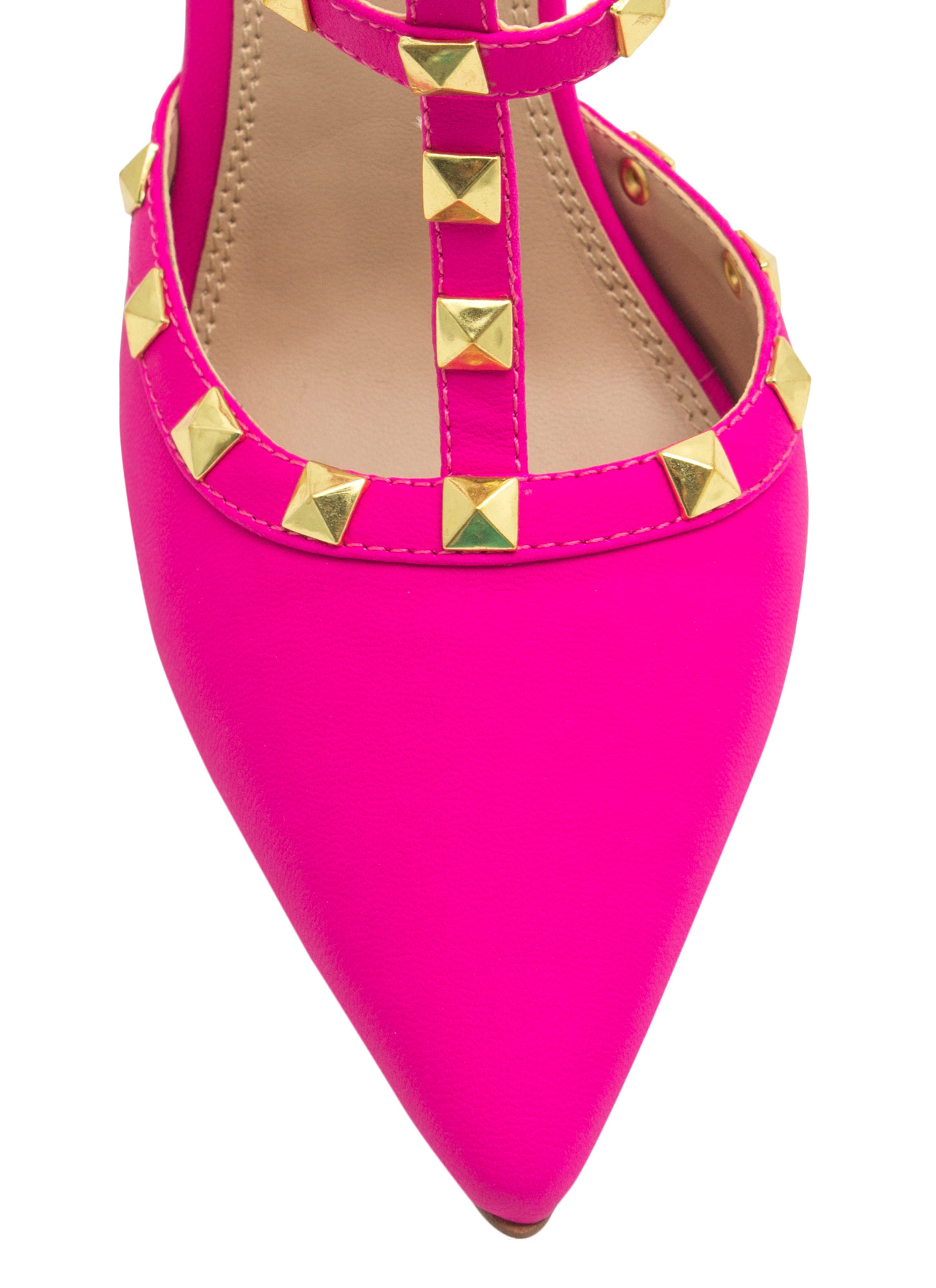 Ur A Stud Double T-Strap Heels HOTPINK