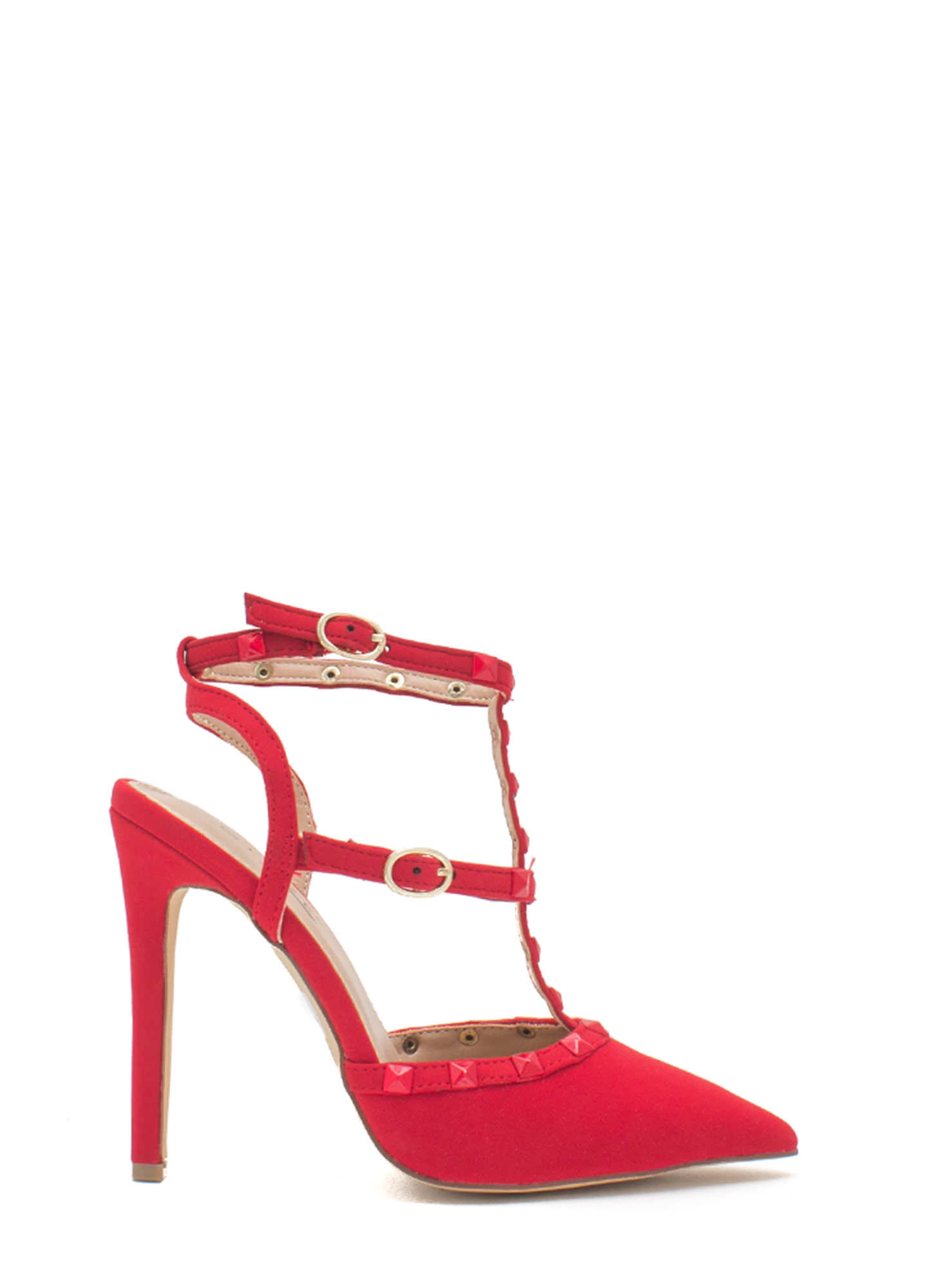 Ur A Stud Double T-Strap Heels RED