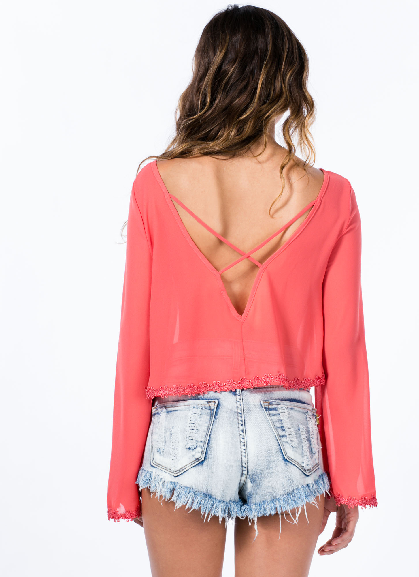 Floral Fix-Up Sheer Bell Sleeve Top CORAL