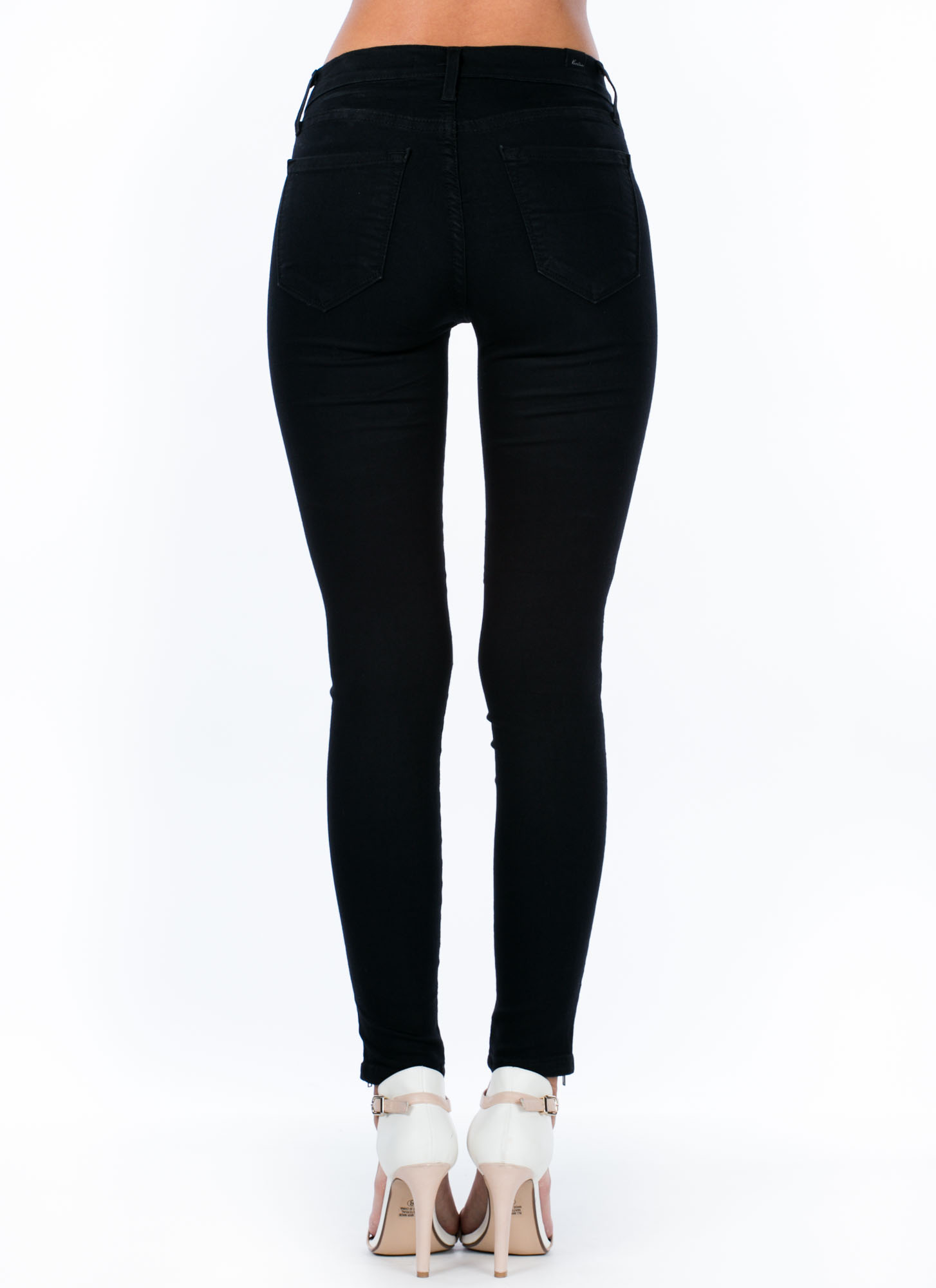 Full-Length Zippered Skinny Jeans BLACK