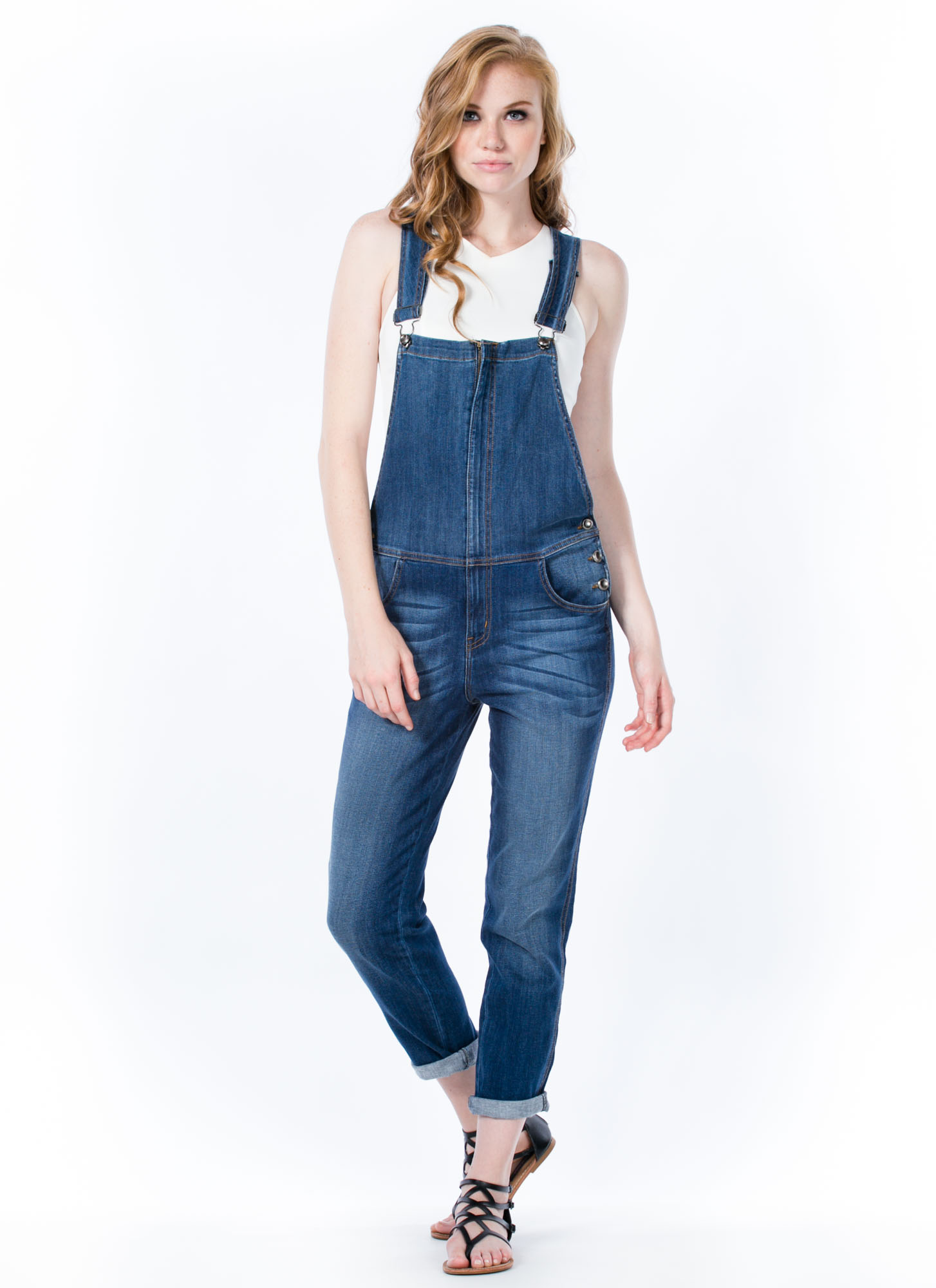 Zip 2 The Front Denim Overalls BLUE