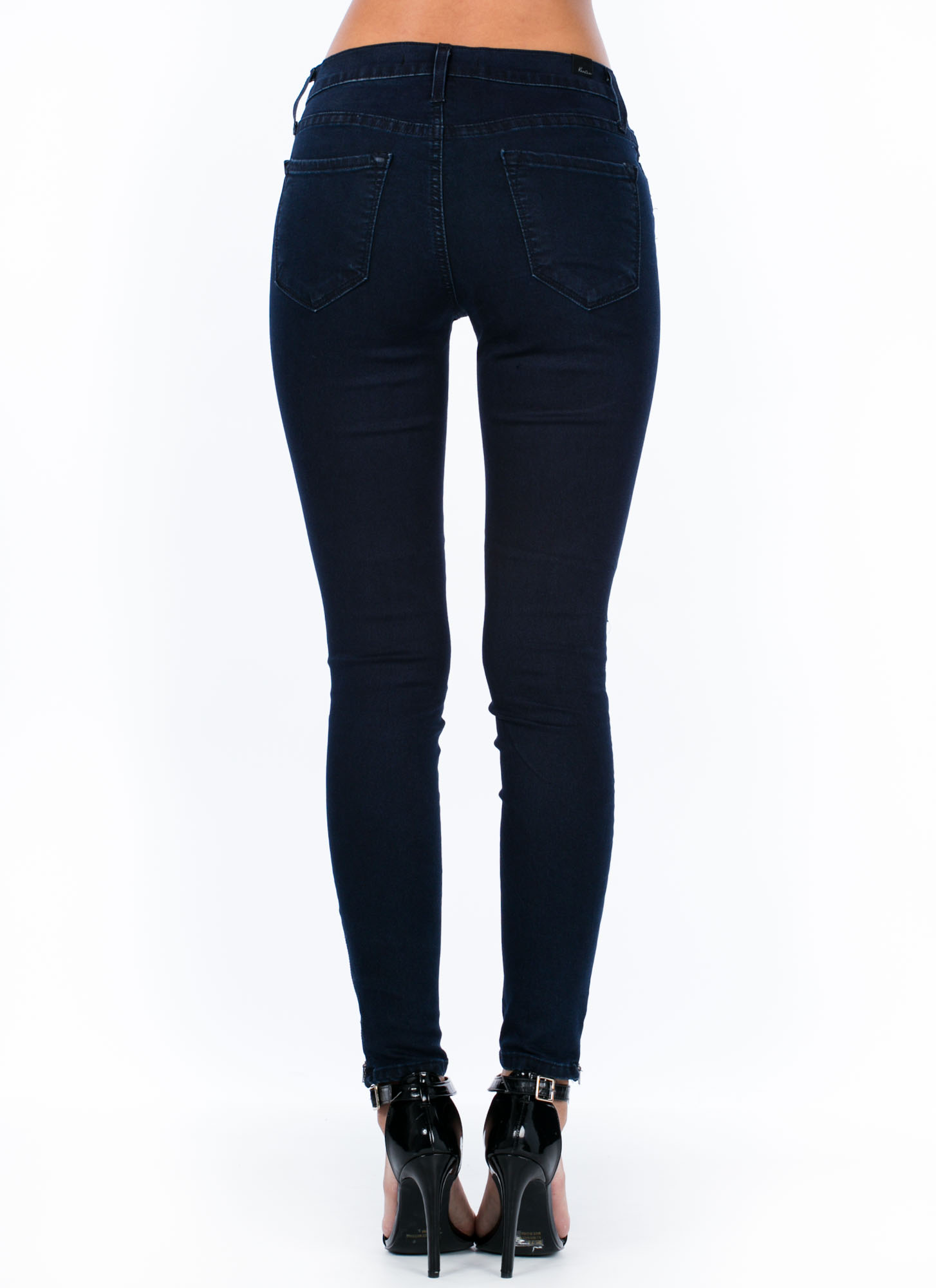Moto Stitched Zippered Jeggings DKBLUE