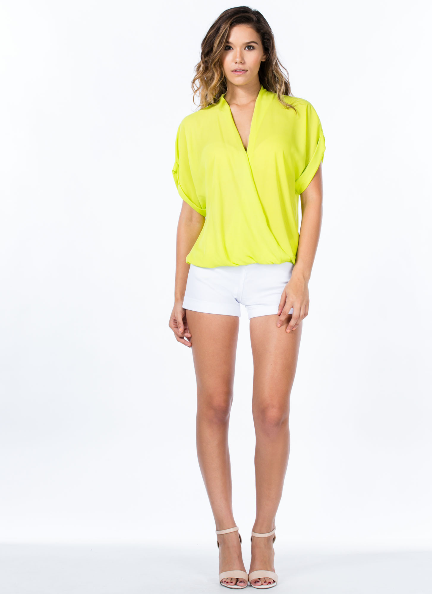 Surplice Surplus Draped Dolman Blouse LIME