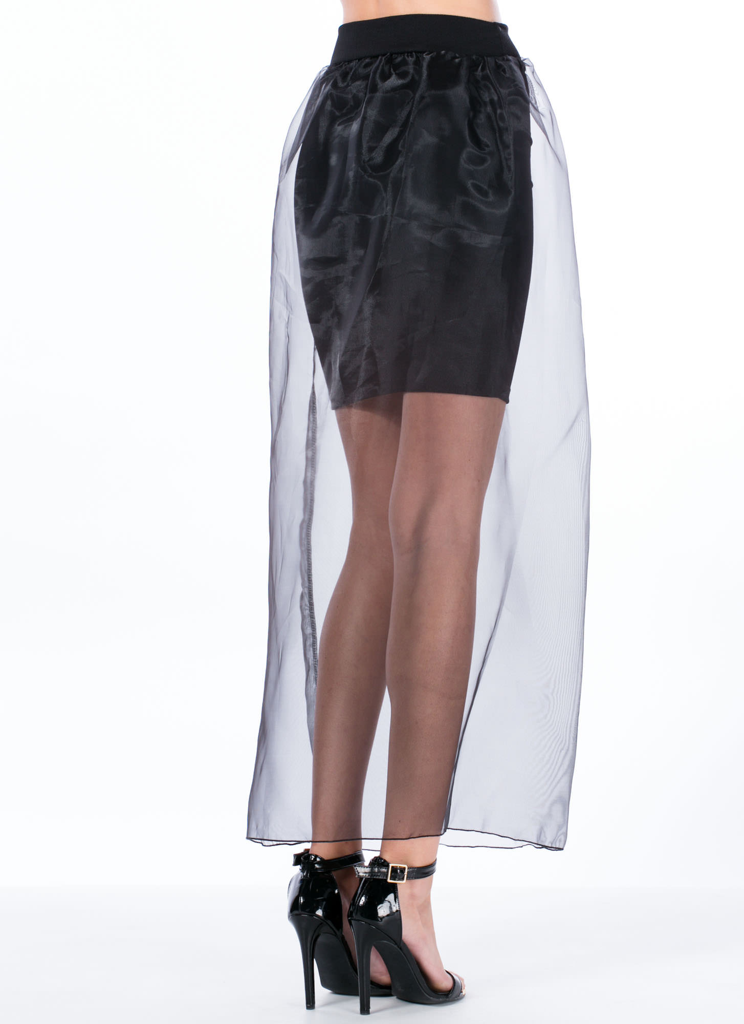 Sheer Perfection Organza Overlay Skirt BLACK