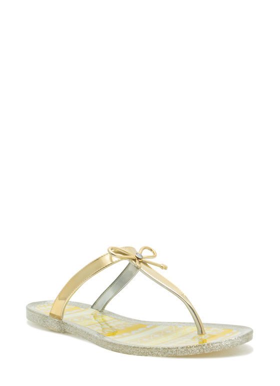 Bow Down Thong Sandals YELLOW