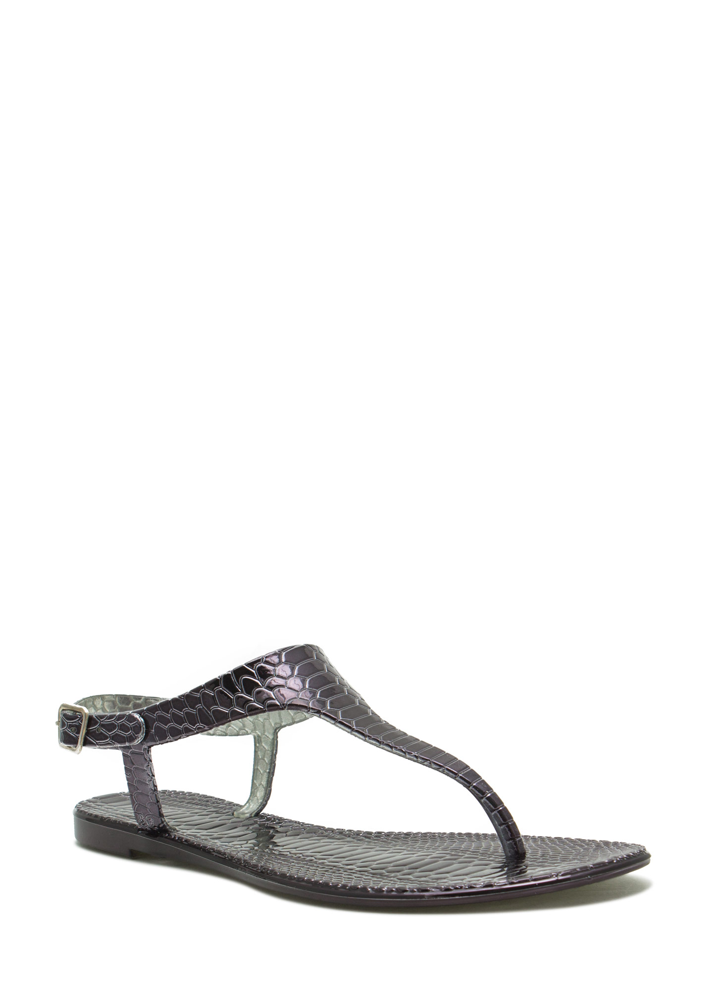 Reptile Textured Jelly Thong Sandals BLACK