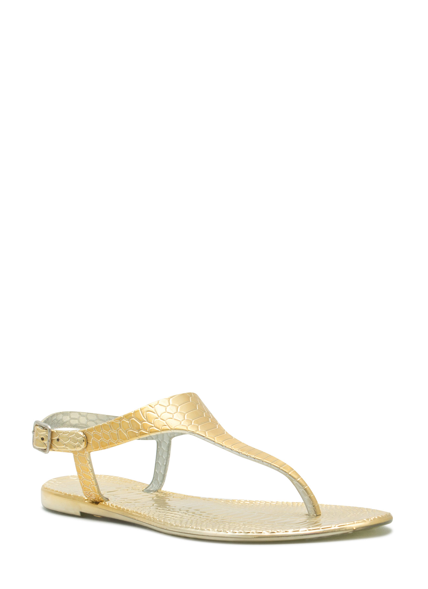 Reptile Textured Jelly Thong Sandals GOLD