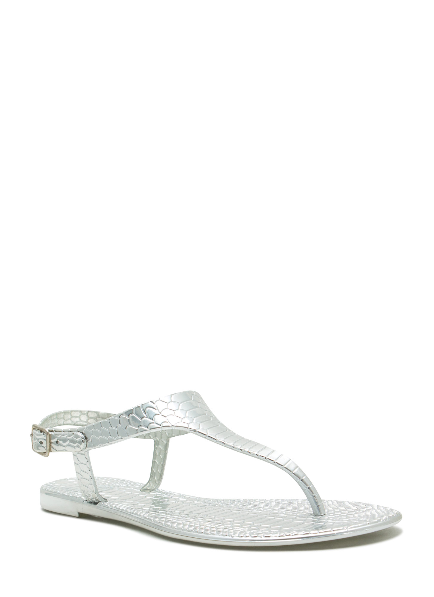 Reptile Textured Jelly Thong Sandals SILVER