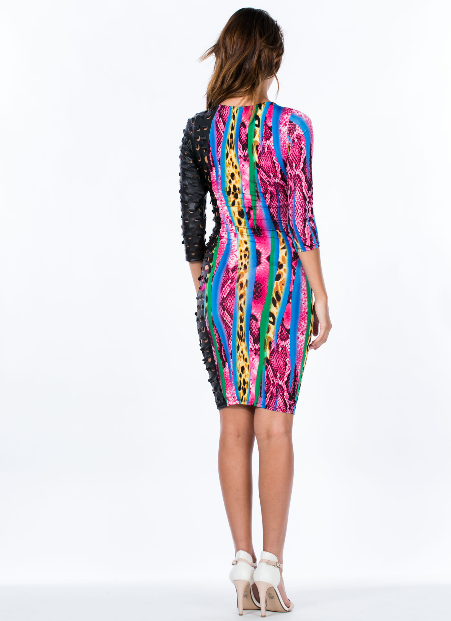 Curveball Punched Animal Print Dress PINKBLACK