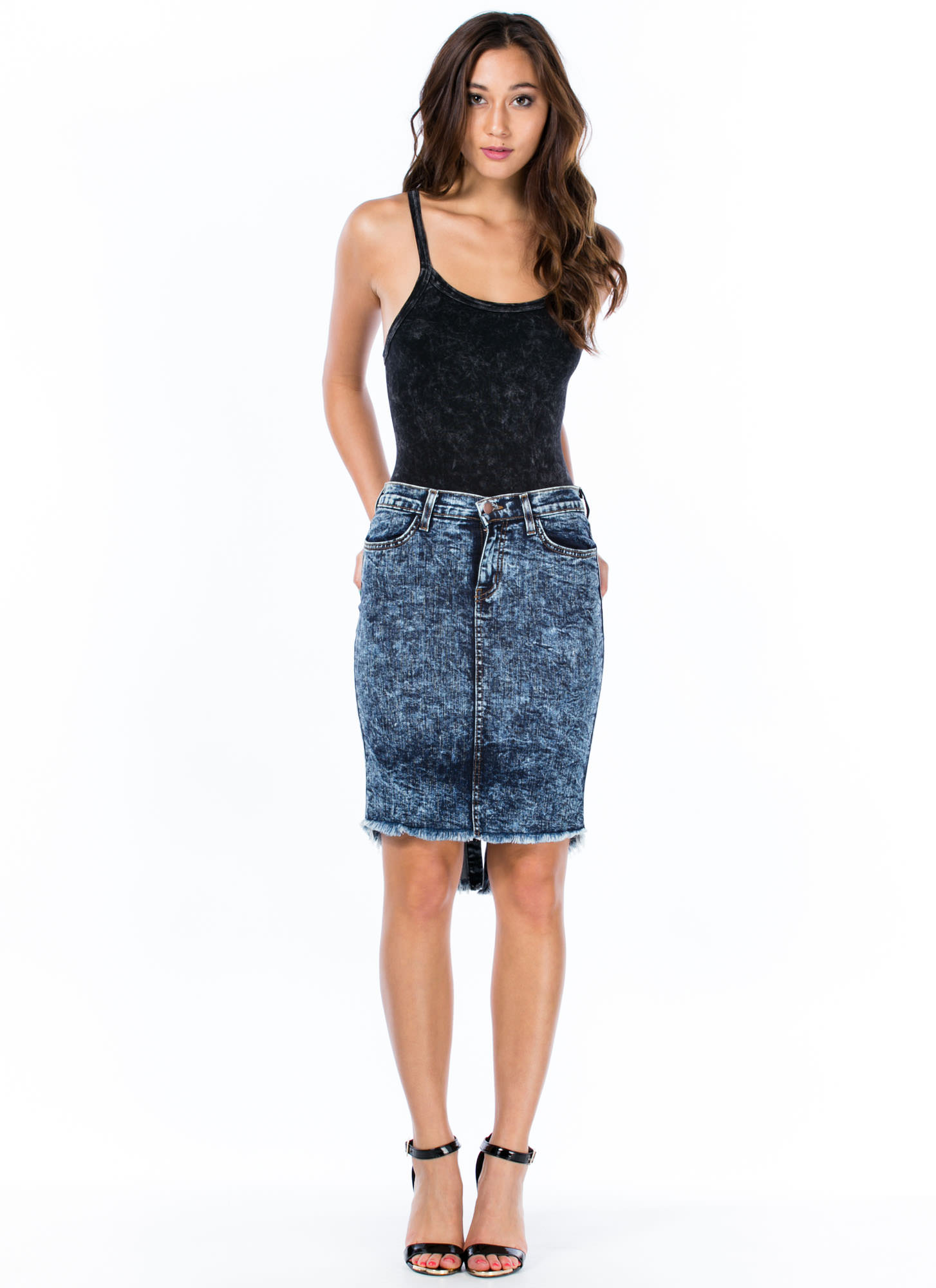 Acid Wash High-Low Pencil Skirt DKBLUE