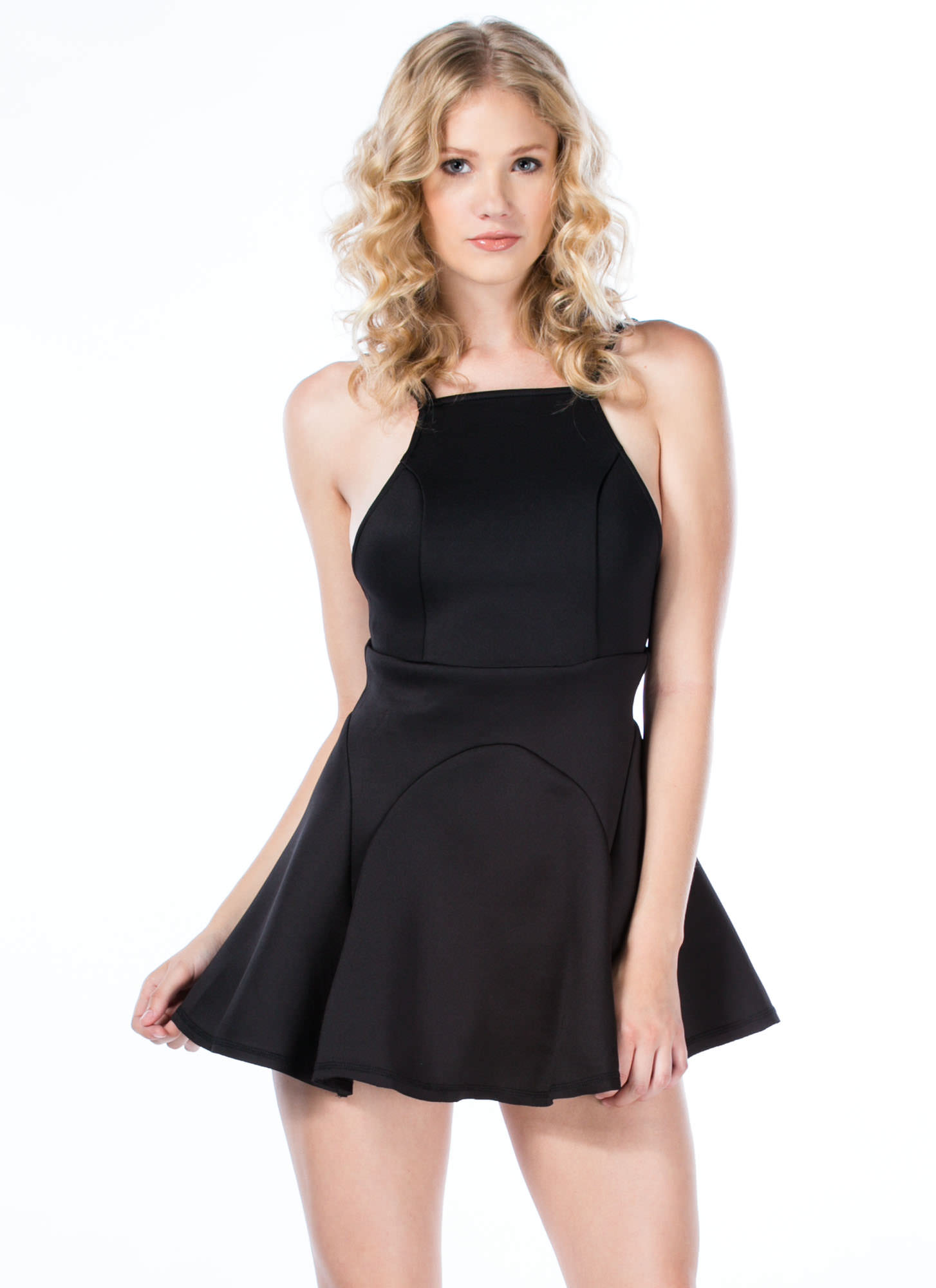 Panel Inset Crossback Dress BLACK