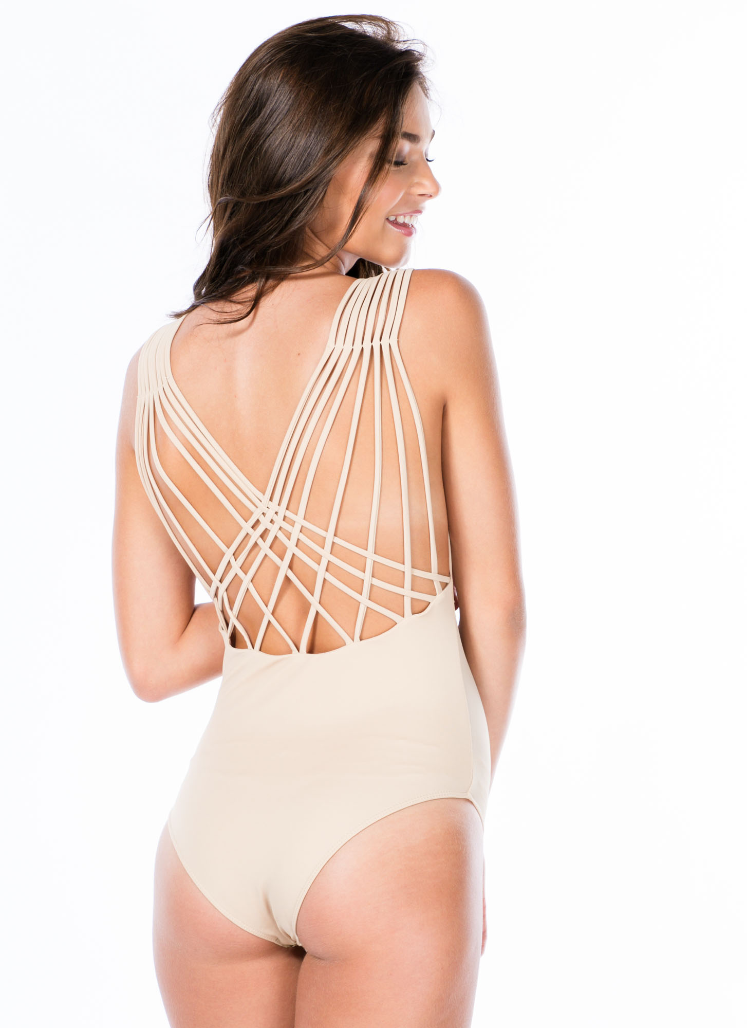 Lattice Back Strappy Bodysuit TAUPE