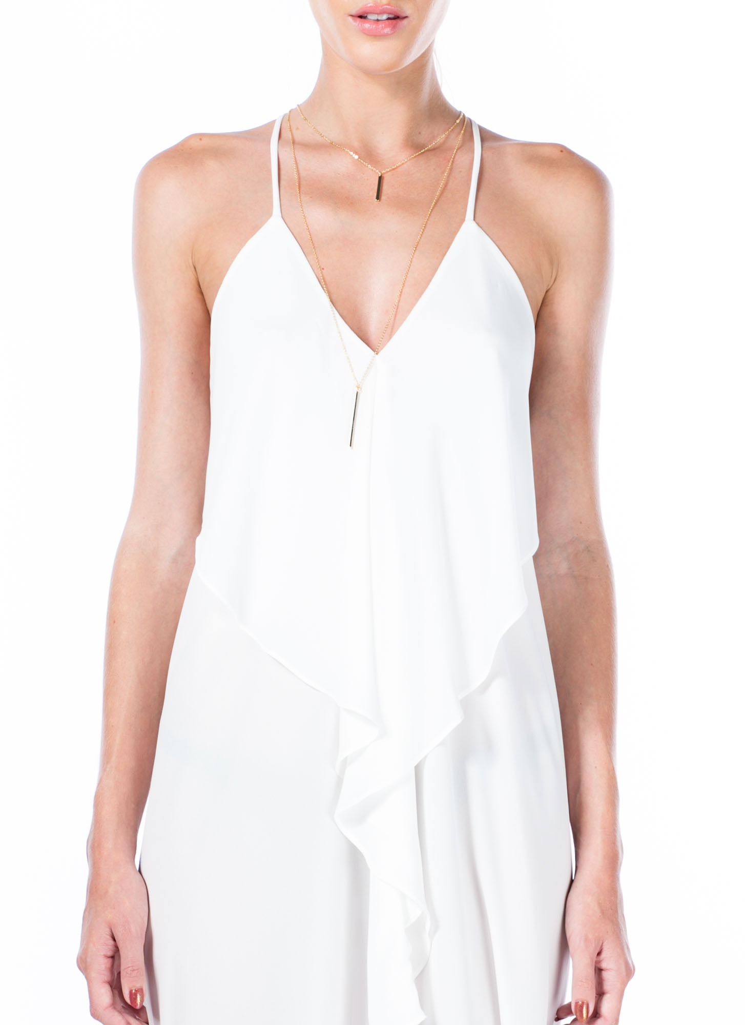 Drape Back Cami Dress WHITE