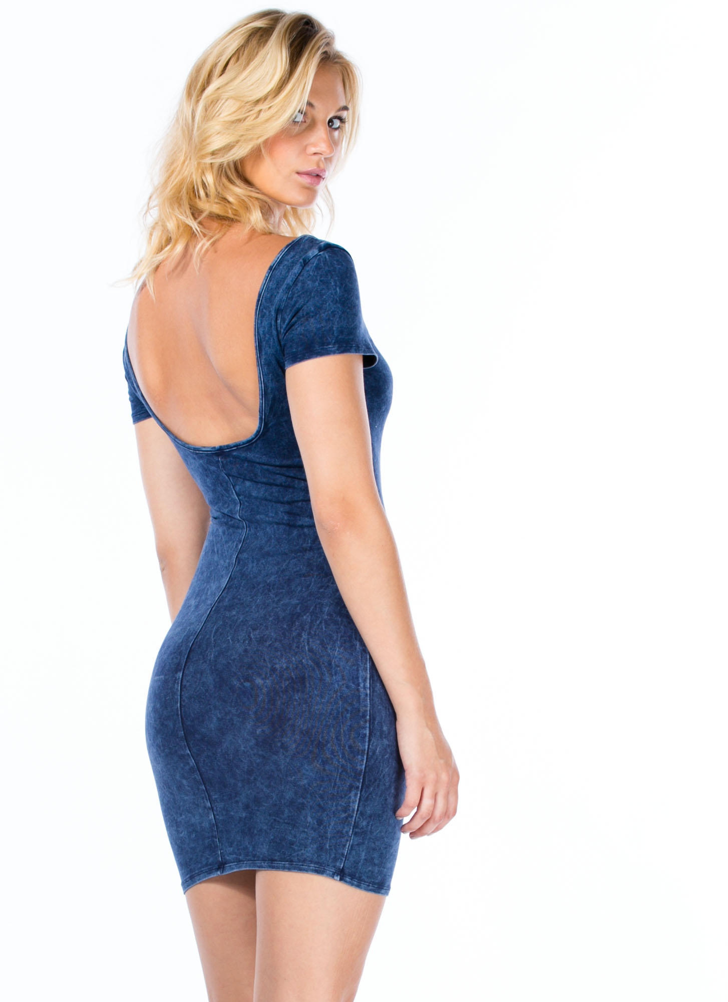 Double Scoop Acid Wash Bodycon Dress NAVY