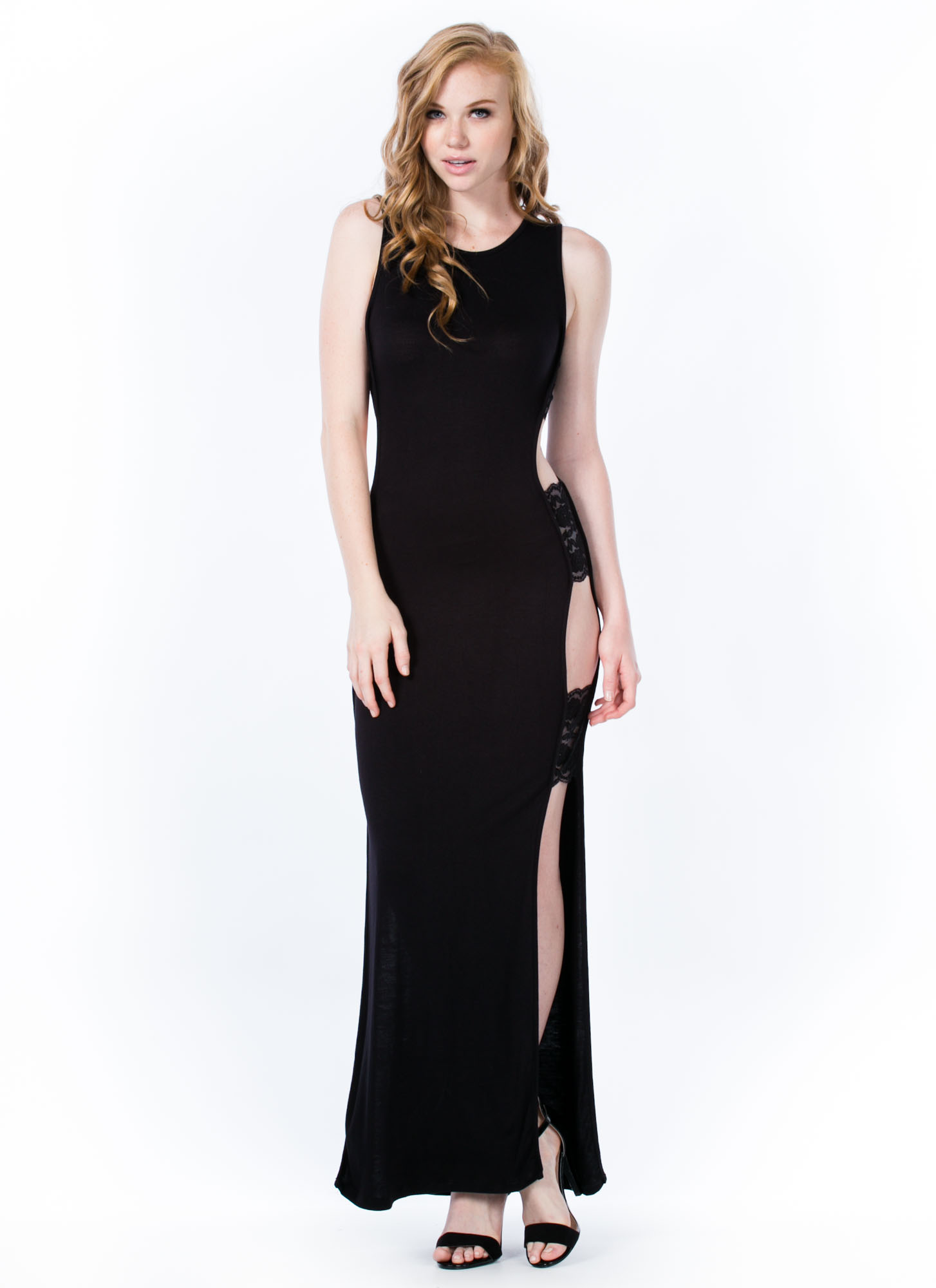 Open Air Lace Inset Maxi Dress BLACK