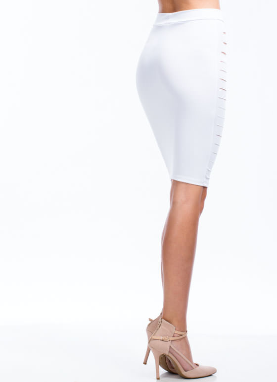 Strategic Placement Bodycon Skirt WHITE