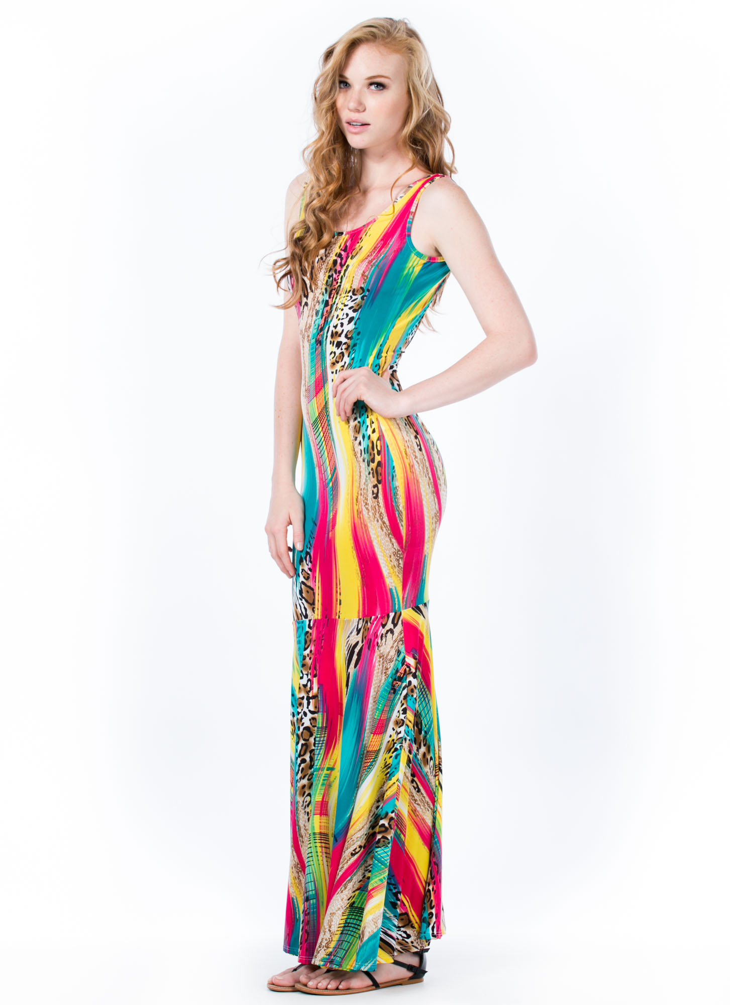Wild Streak Paint Print Mermaid Maxi MULTI