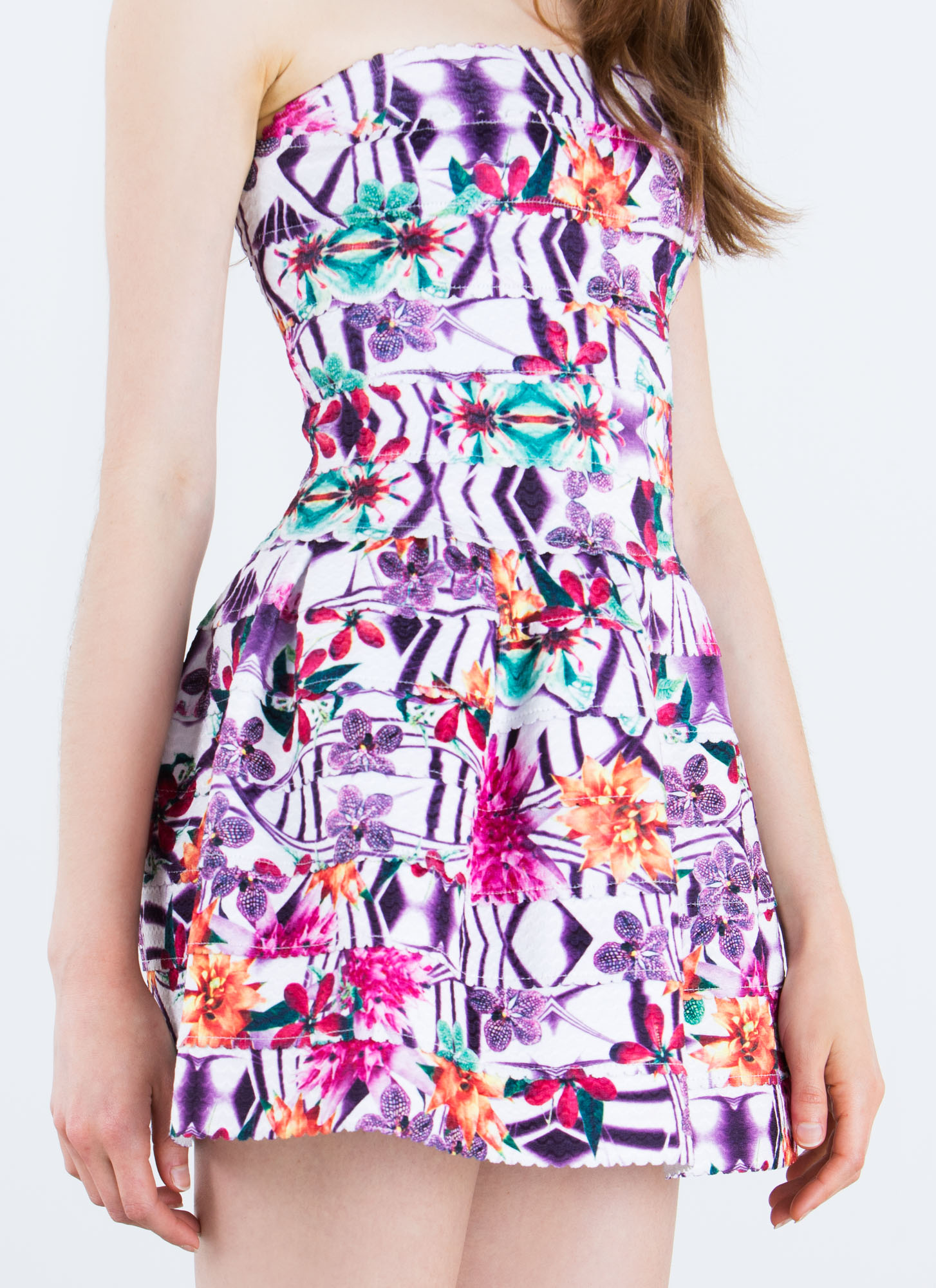Bandaged Up Floral Skater Dress PURPLE