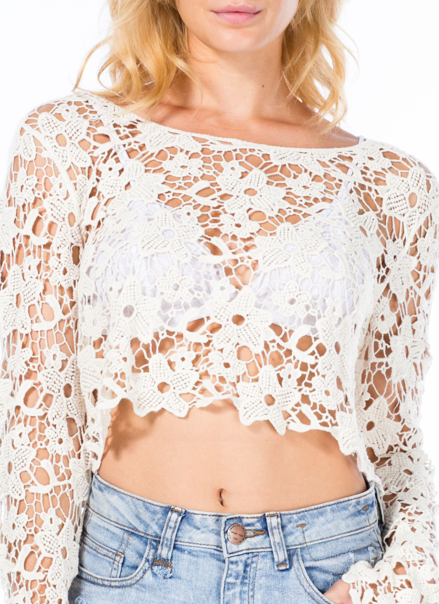 Hippie Daze Crochet Cropped Top NATURAL