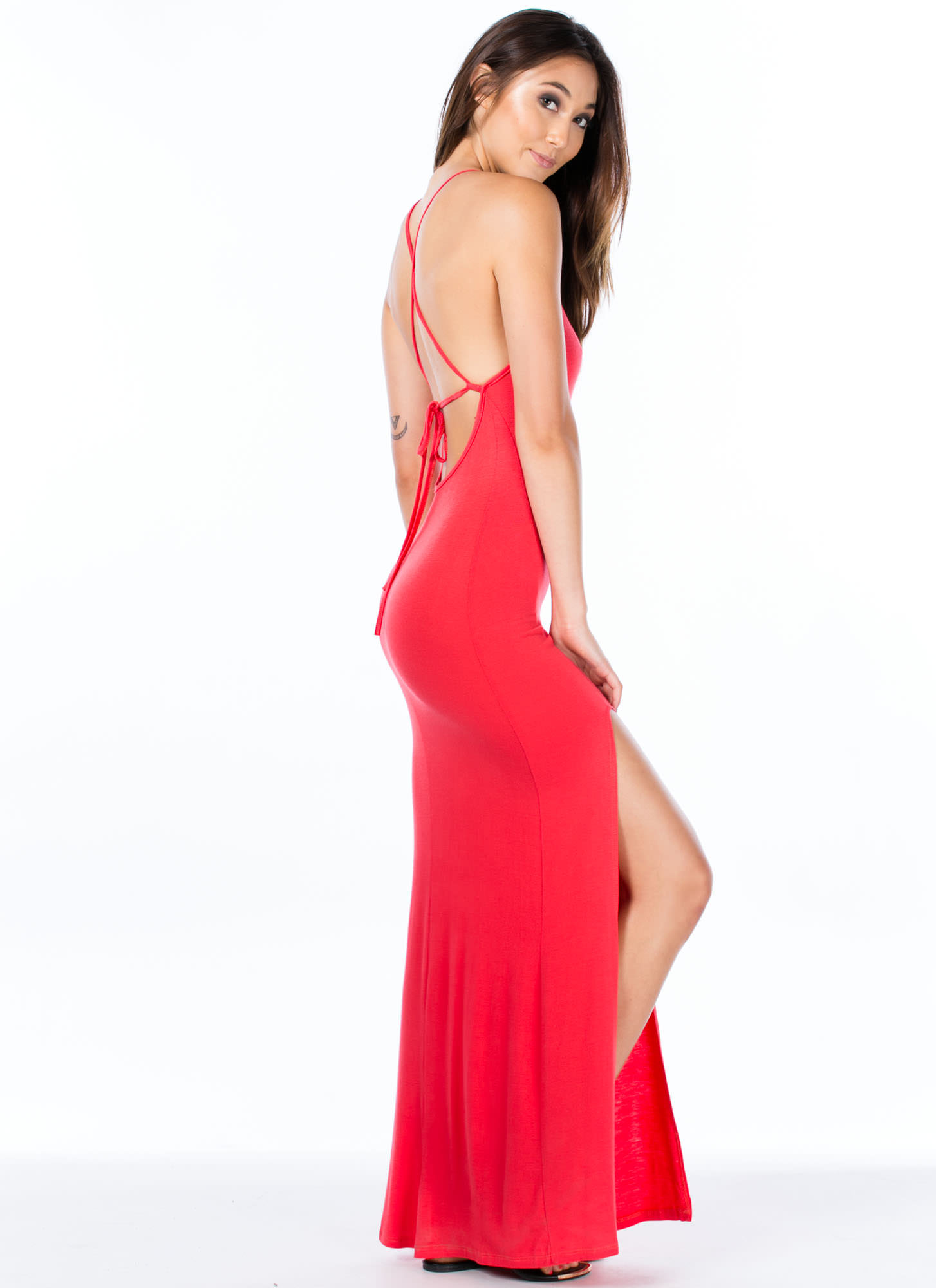 Strappy Go Lucky Open Back Maxi CORAL