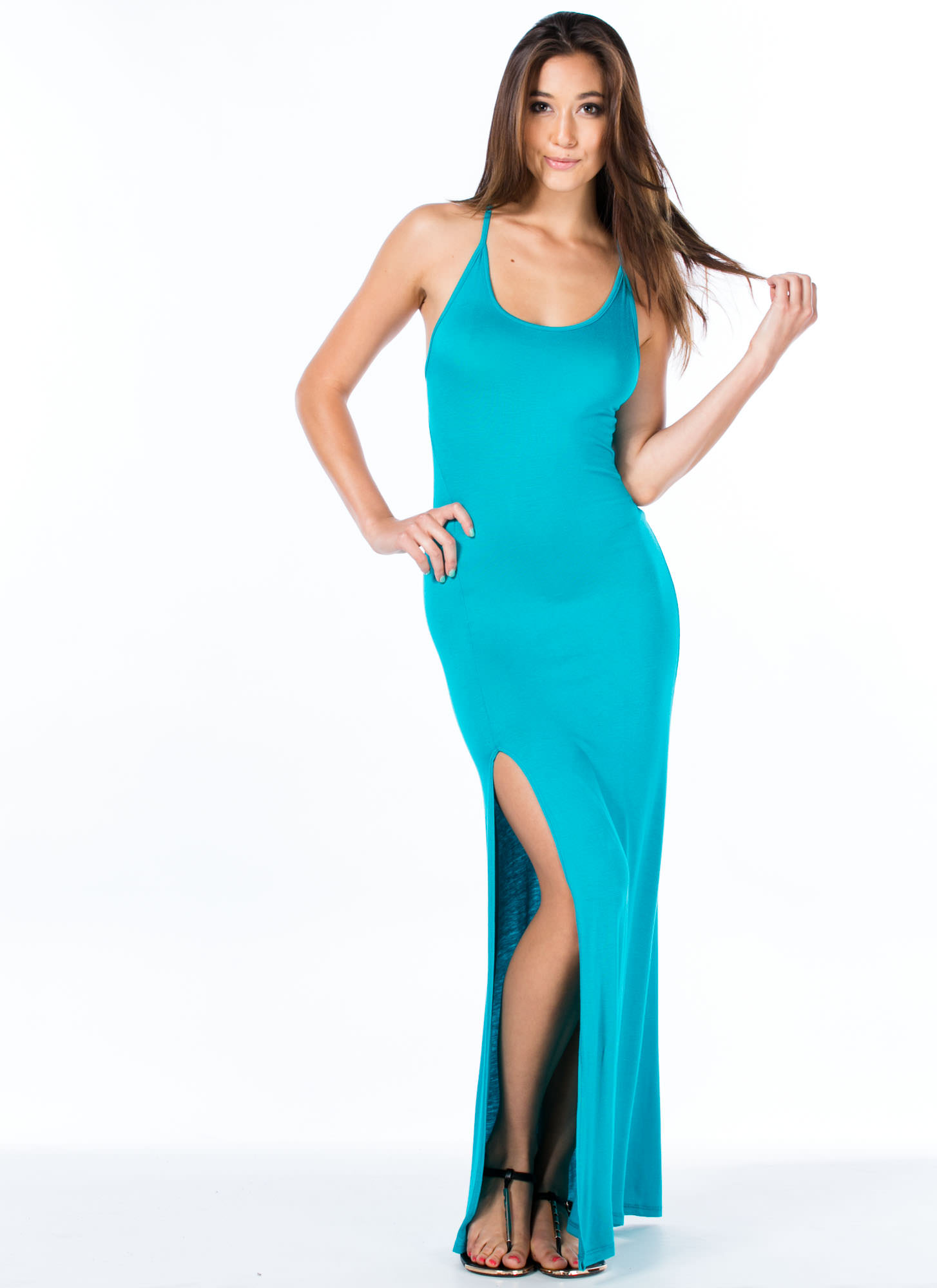 Strappy Go Lucky Open Back Maxi JADE
