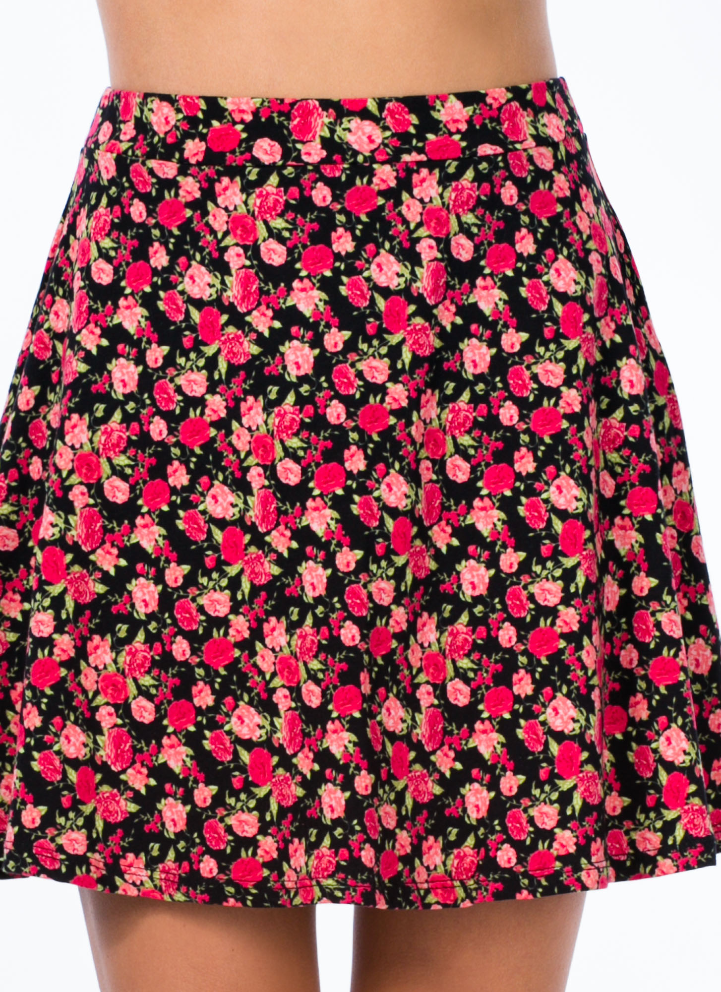 Say It With Flowers Skater Skirt PINK