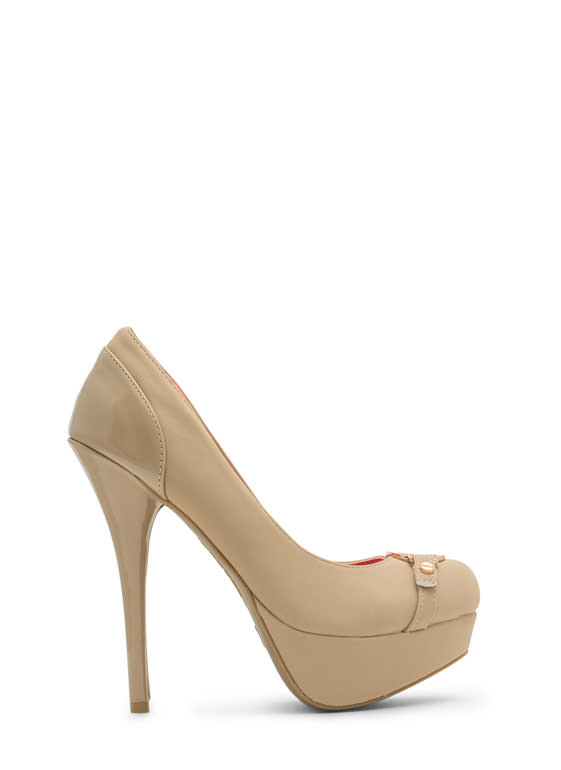 First Place Medallion Platform Heels NUDE