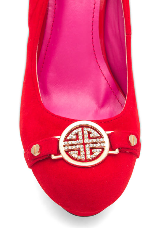 First Place Medallion Platform Heels RED