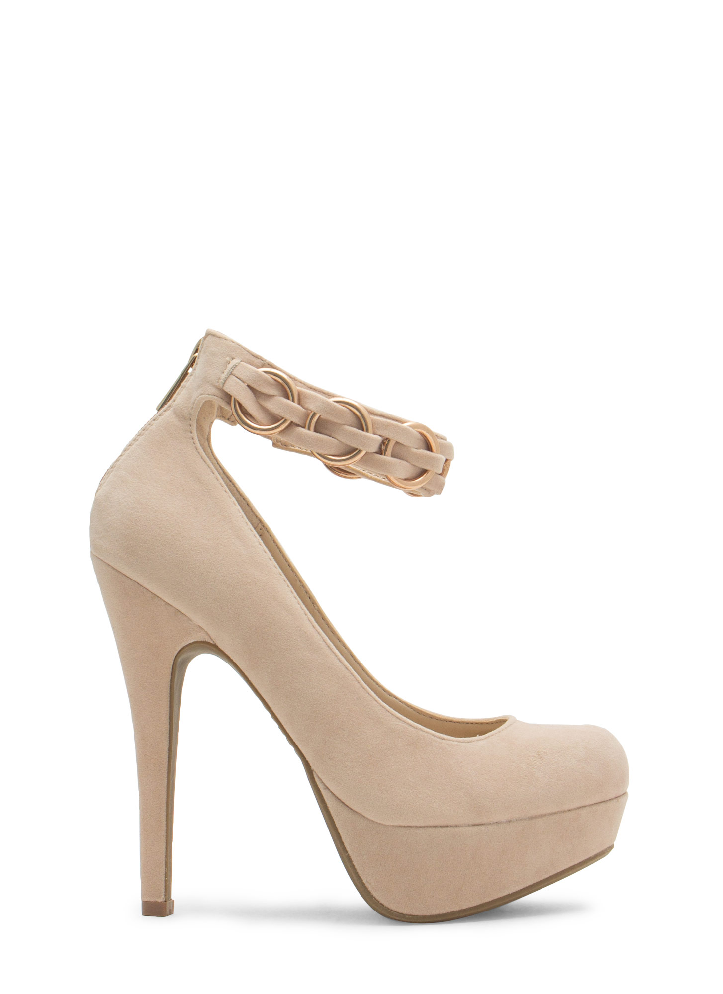 Bling Ring Ankle Strap Heels NUDE