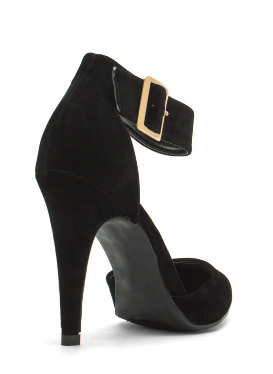 Single Buckle Pointy Heels BLACK