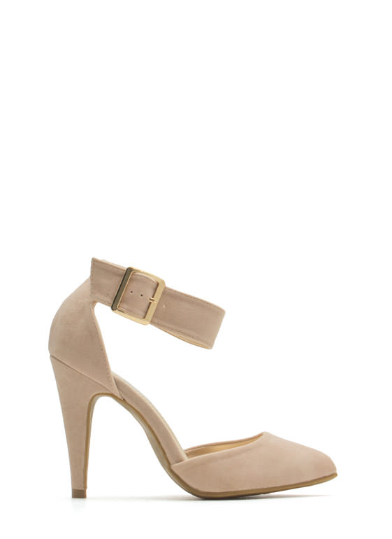 Single Buckle Pointy Heels NUDE