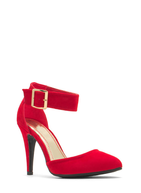 Single Buckle Pointy Heels RED