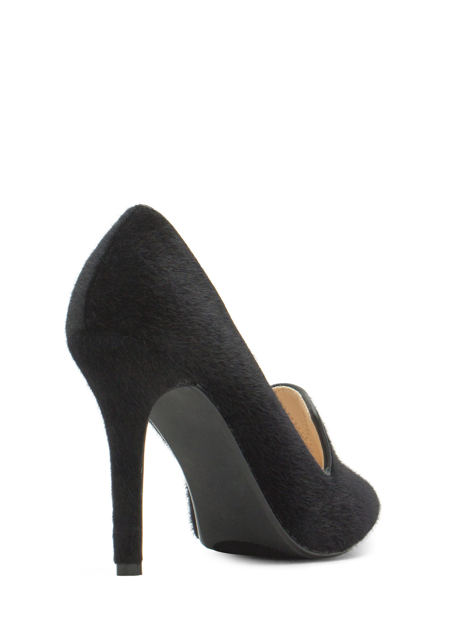 Trimmed Faux Pony Hair Loafer Heels BLACK