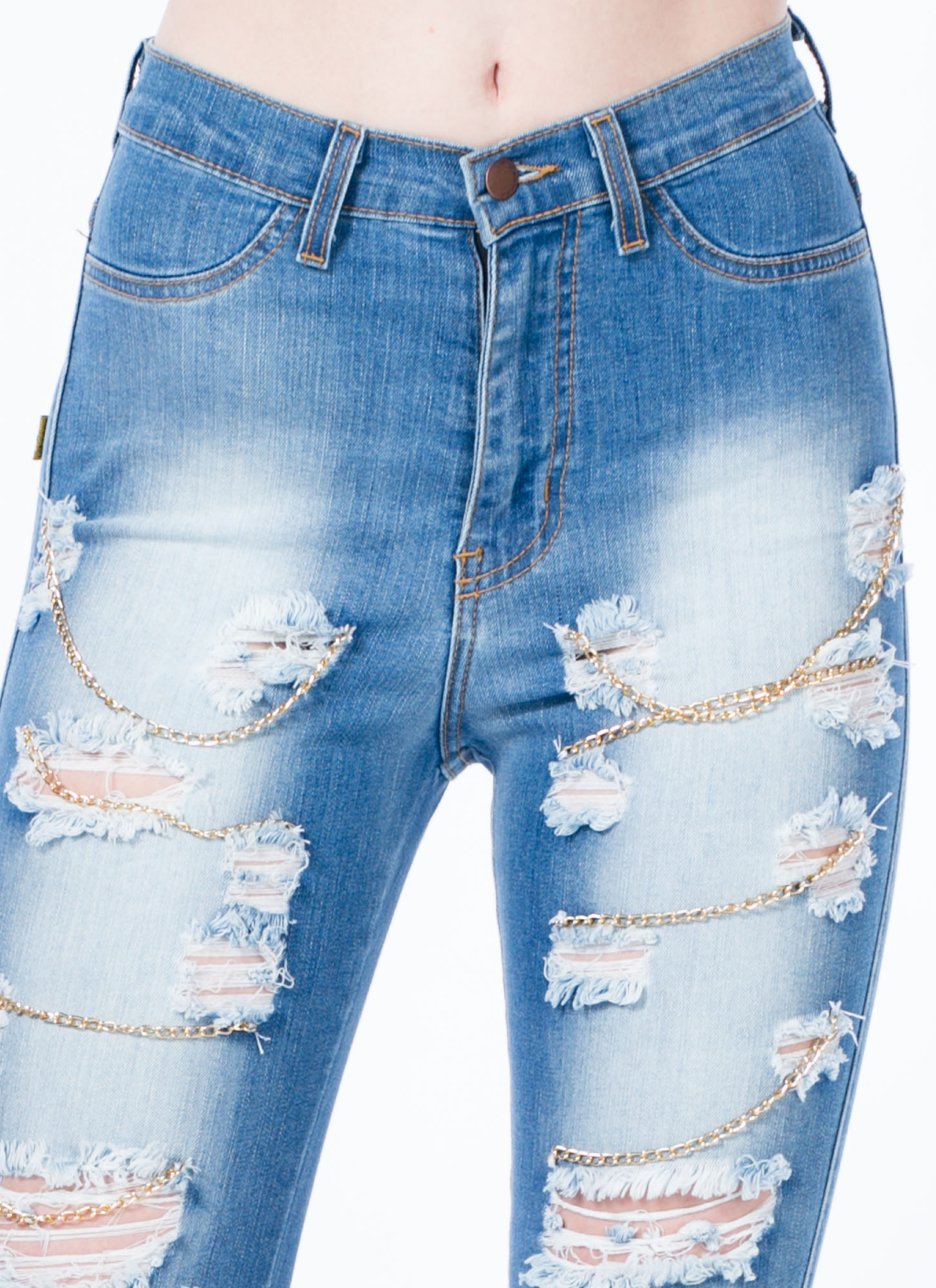 Chain Game Distressed Jeans BLUE