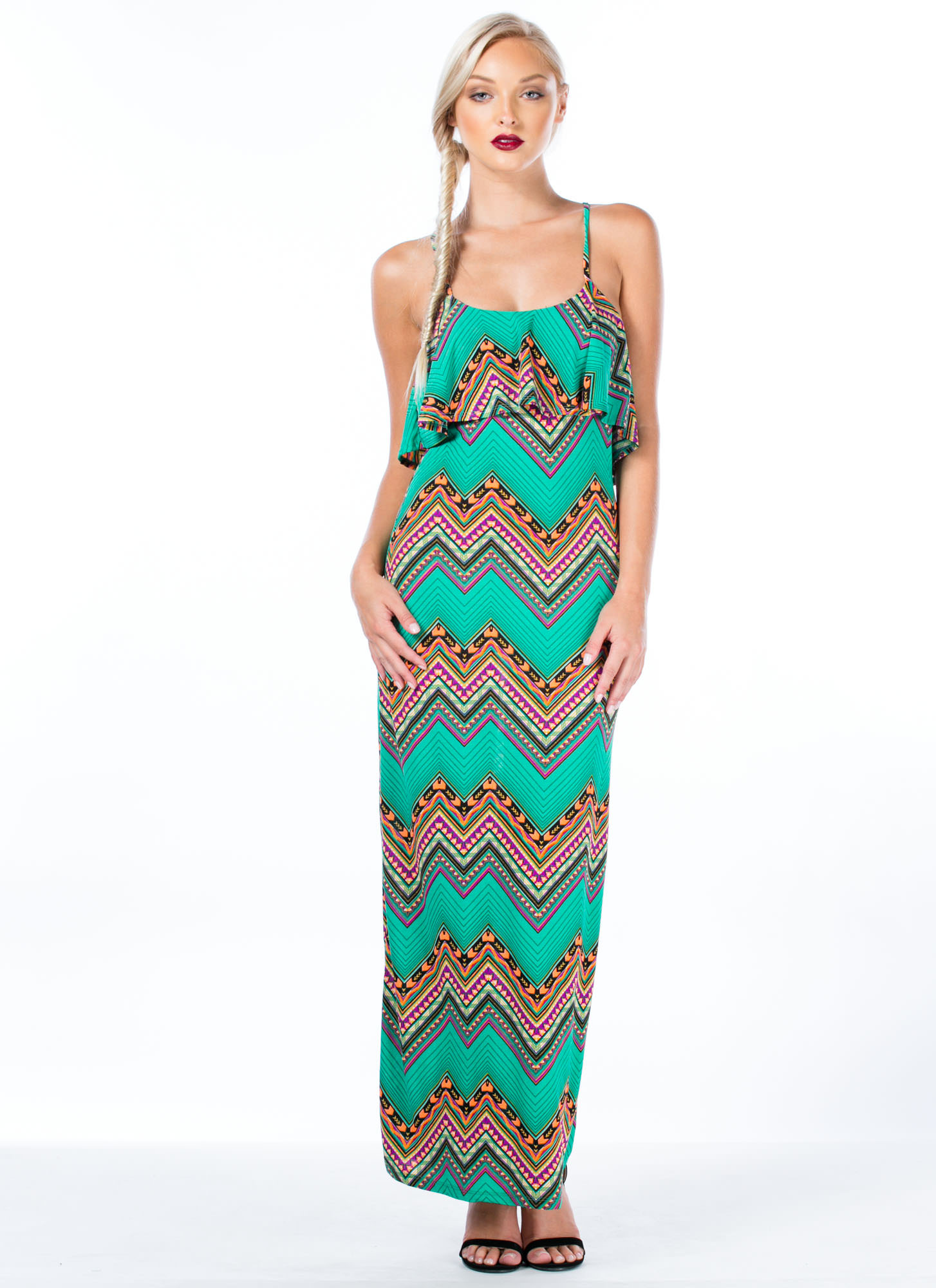 Zigzag Tribe Vibe Maxi Dress JADE