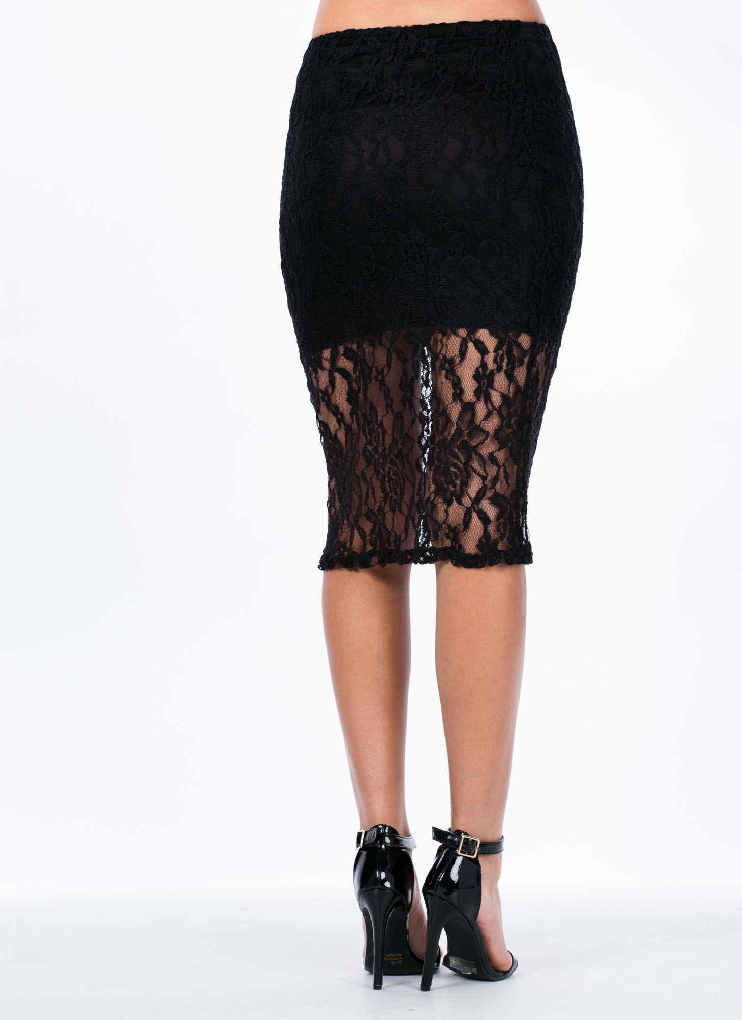 Floral Lace Overlay Skirt BLACK
