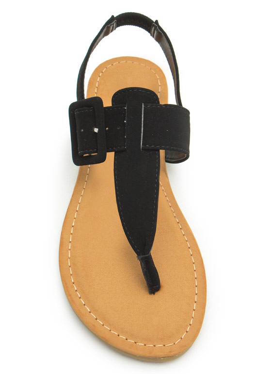 Buckle The Trend T-Strap Sandals BLACK
