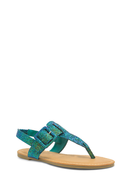Buckle The Trend T-Strap Sandals GREENMULTI