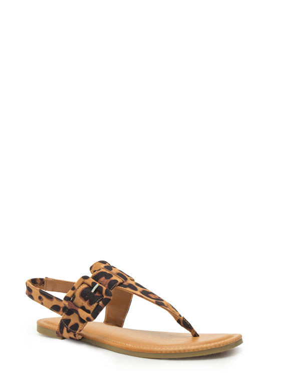 Buckle The Trend T-Strap Sandals LEOPARD